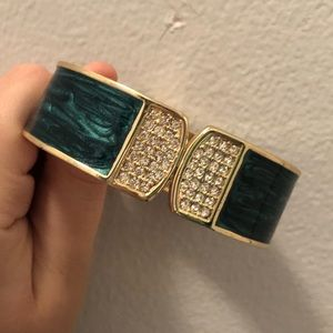 Green and Golden Bracelet with Silver Jewels